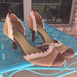 ALDO Crochet D'orsay Leather Heels Vintage Flawed*